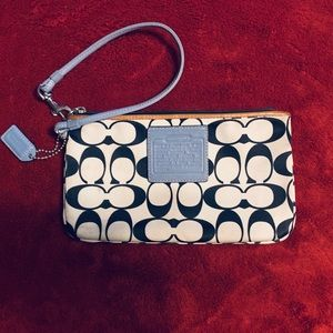 Coach black, white and light blue wristlet